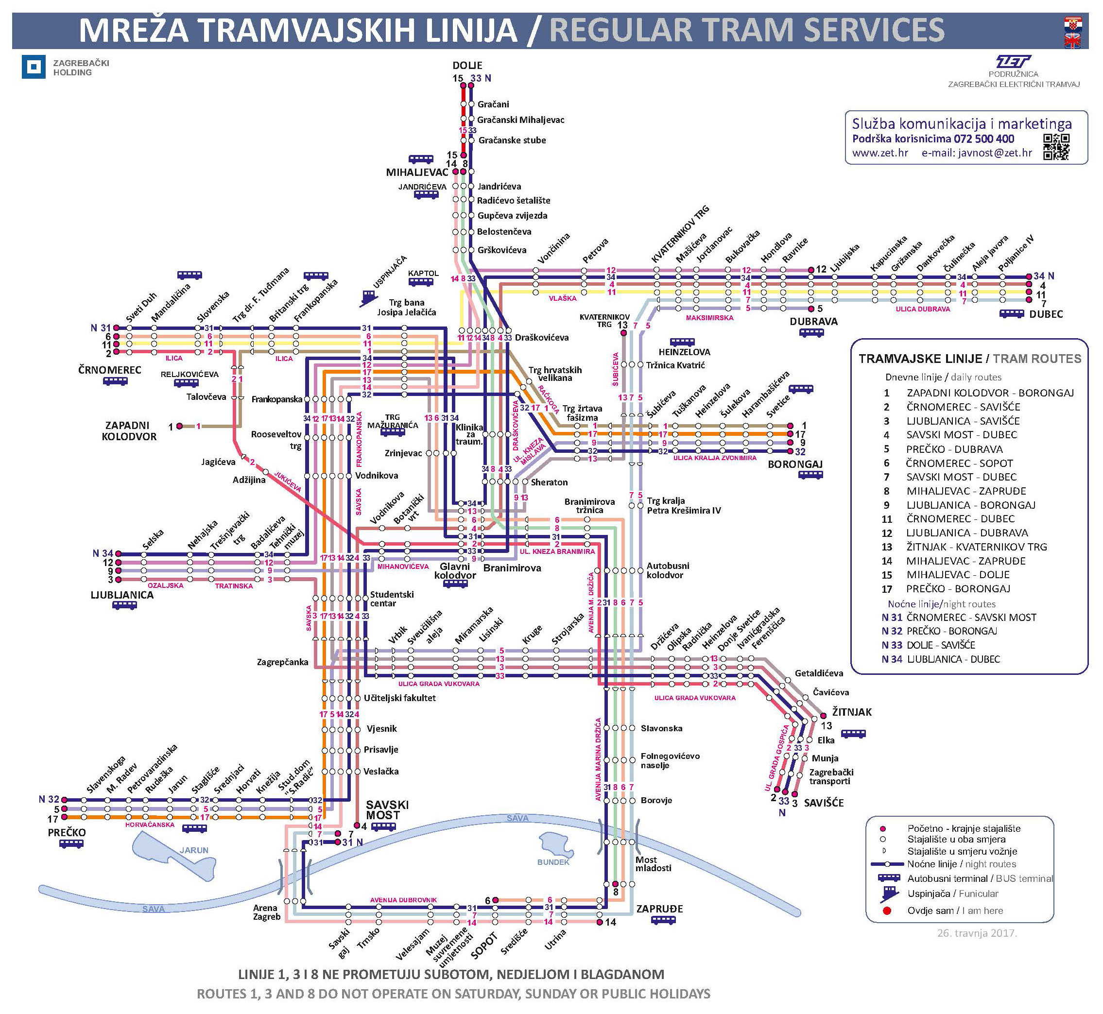 Game Of Thrones Subway Map.Zet Zagreb Day Night Tram Maps Expat In Croatia