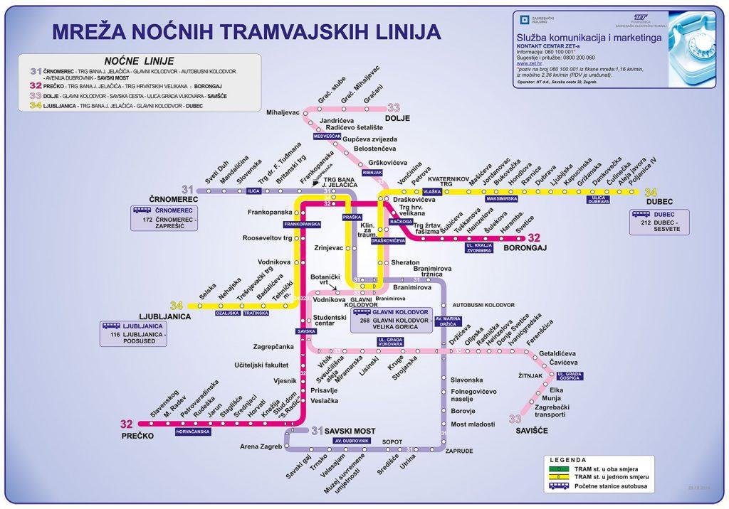 ZET Zagreb Night Tram Map