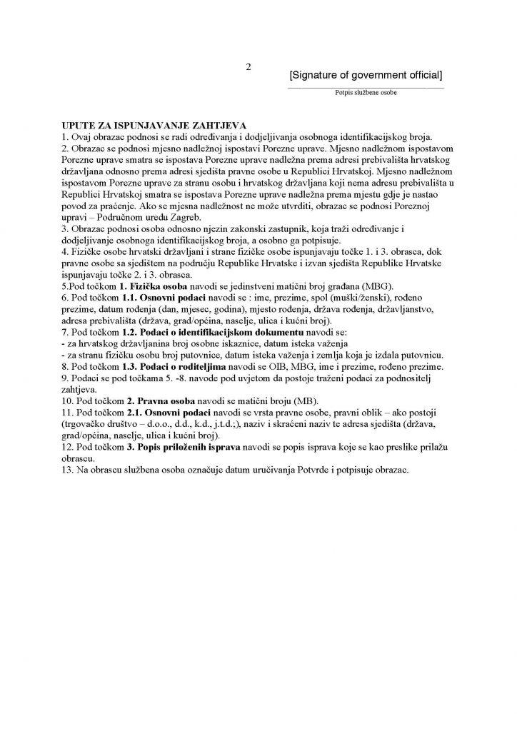 Croatia OIB English Application