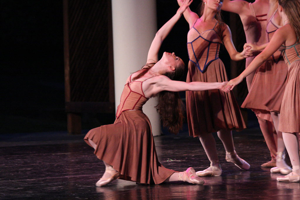 Ballet dancers on stage during performance