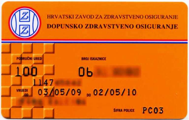 HZZO Dopunsko Orange Health Insurance Card